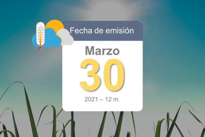 Pronóstico del tiempo, 30-mar-2021
