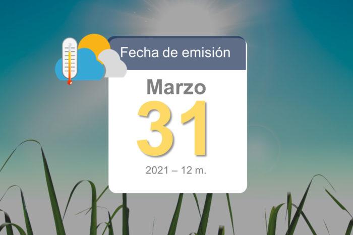 Pronóstico del tiempo, 31-mar-2021 y fin de semana