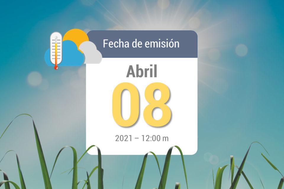Pronóstico de lluvias semanal, 9-abr a 15 abr de 2021