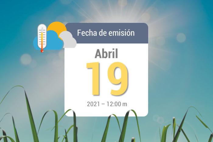 Weather forecast, Apr 19, 2021