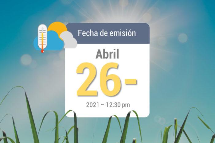 Pronóstico del tiempo, 26-abr-2021