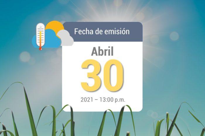 Pronóstico del tiempo, 30-abr-2021