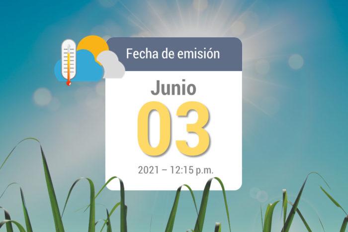 Pronóstico del tiempo, 03-jun-2021