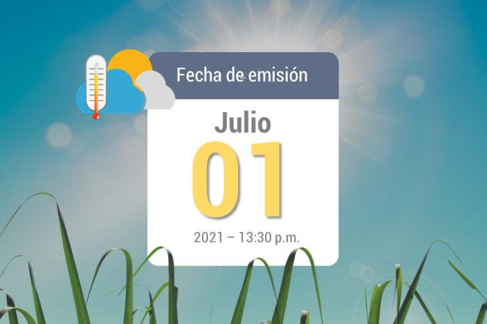 Pronóstico del tiempo, 01jul-2021