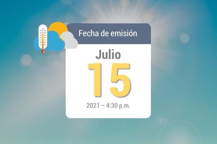 Pronóstico de lluvias semanal,16-jul a 22-jul de 2021