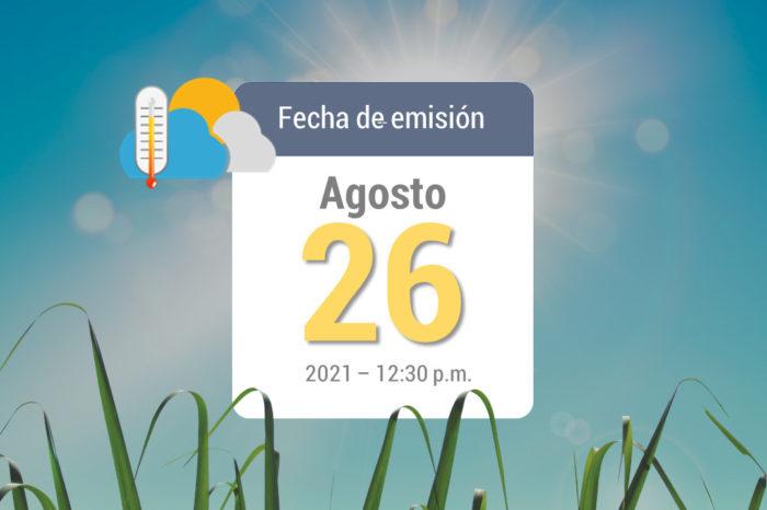 Pronóstico del tiempo, 26 ago-2021
