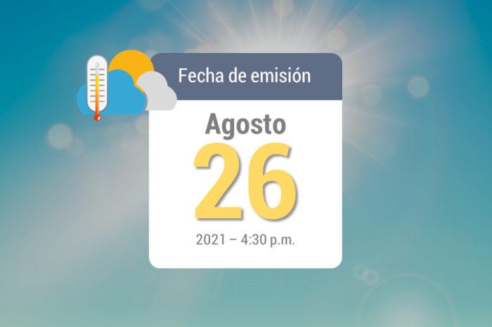 Pronóstico de lluvias semanal, 27ago-2sep de 2021
