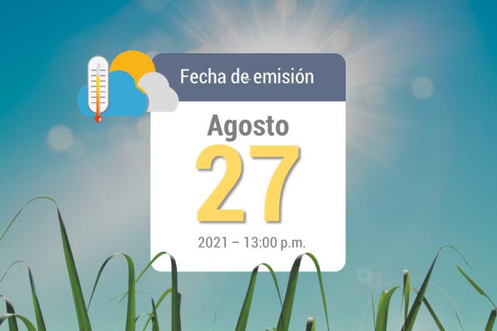 Pronóstico del tiempo, 27 ago-2021