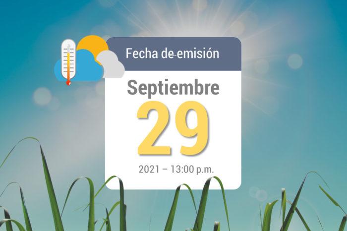 Pronóstico del tiempo, 29 sep-2021